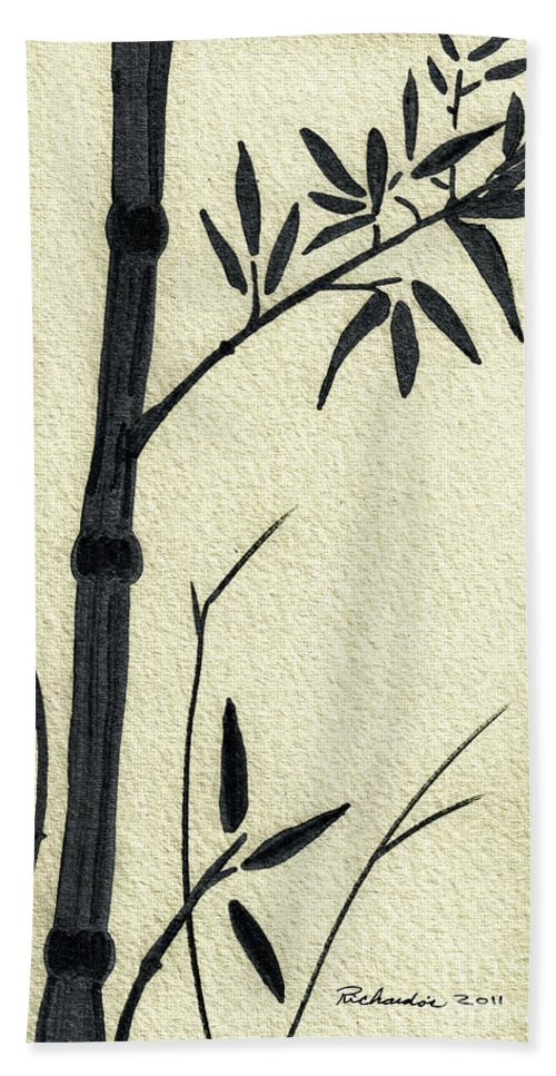 Abstract Beach Towel featuring the mixed media Zen Sumi Antique Bamboo 1a Black Ink On Fine Art Watercolor Paper By Ricardos by Ricardos Creations