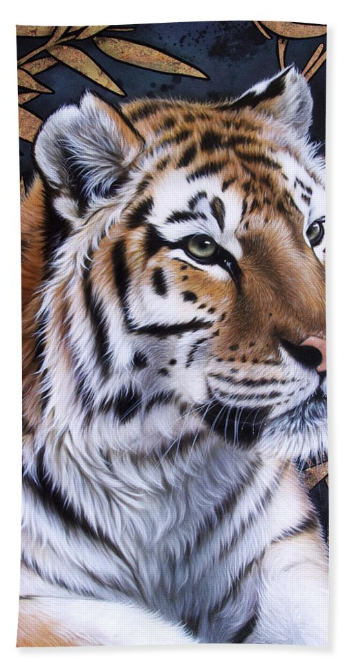 Tiger Beach Towel featuring the painting Zen Too by Sandi Baker