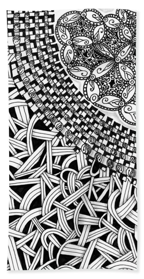 Abstract Beach Towel featuring the drawing Zentangle Inspired Design by Eric Strickland