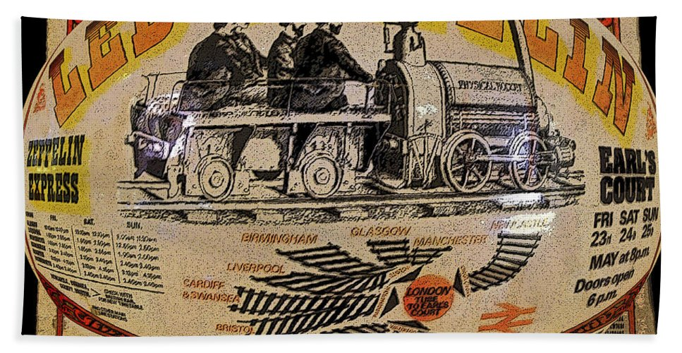 Art Beach Towel featuring the painting Zeppelin Express Work B by David Lee Thompson