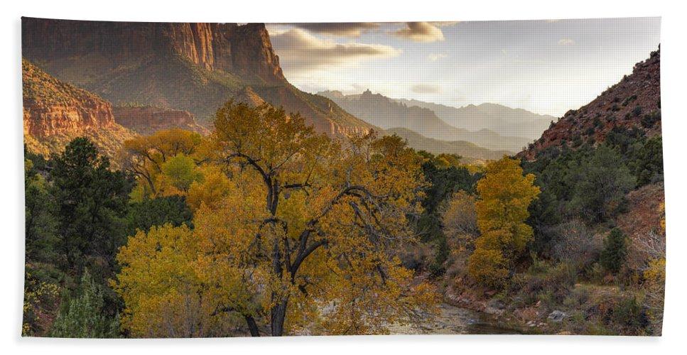 Autumn Beach Towel featuring the photograph Zion National Park Autumn by Leland D Howard