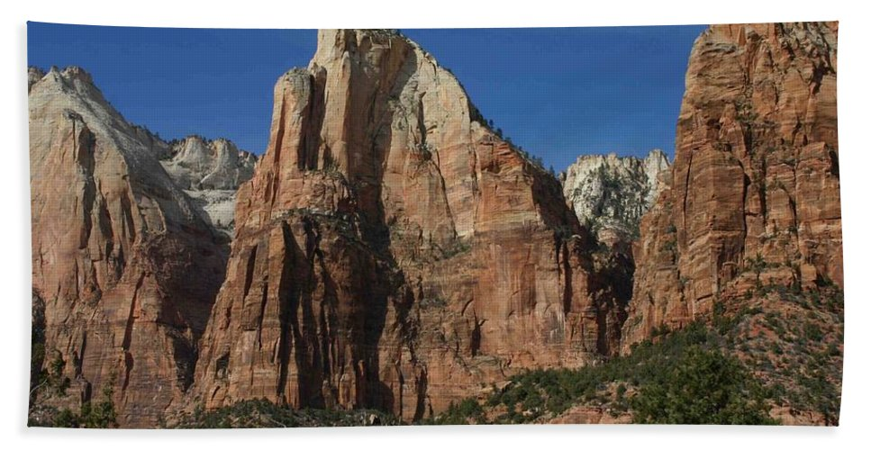 Zion Beach Towel featuring the photograph Zion's Patriarchs by Nelson Strong