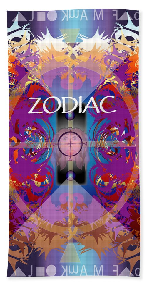 Abstaract Beach Towel featuring the digital art Zodiac 2 by George Pasini