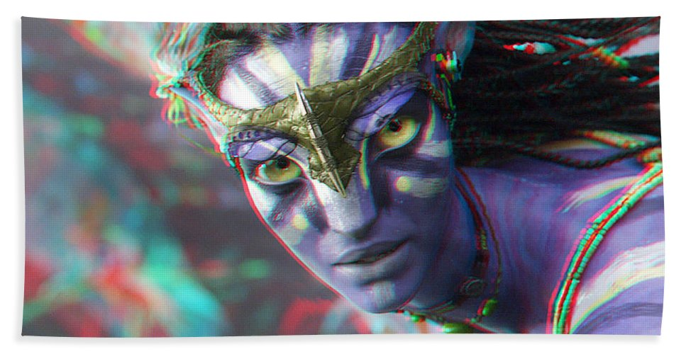 3d Beach Towel featuring the photograph Zoe Saldana - Neytiri - Use Red And Cyan 3d Glasses by Brian Wallace
