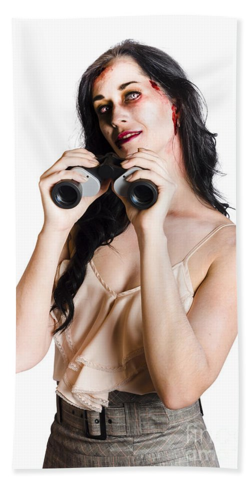 Zombie Beach Towel featuring the photograph Zombie Woman With Binoculars by Jorgo Photography - Wall Art Gallery