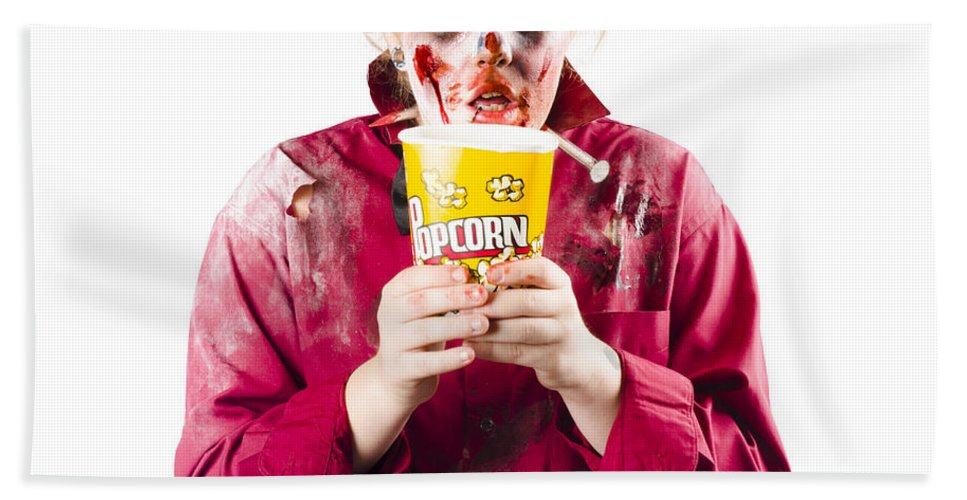 Horror Beach Towel featuring the photograph Zombie Woman With Popcorn by Jorgo Photography - Wall Art Gallery