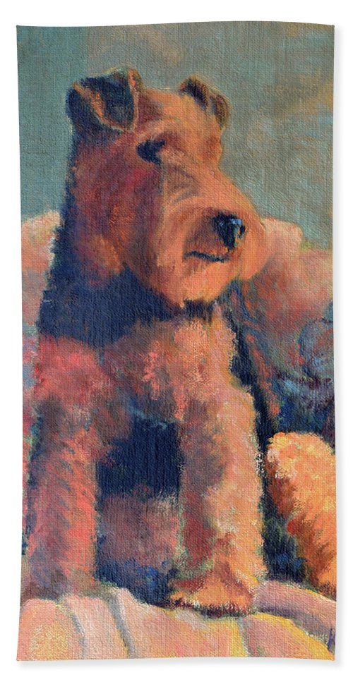 Pet Beach Sheet featuring the painting Zuzu by Keith Burgess