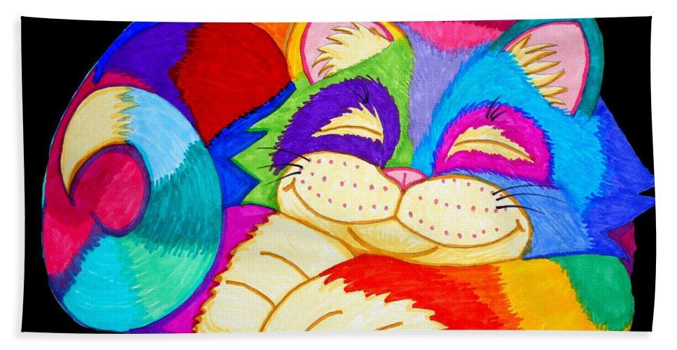Cat Beach Towel featuring the drawing Zzzzzzzzzzzz Cat by Nick Gustafson
