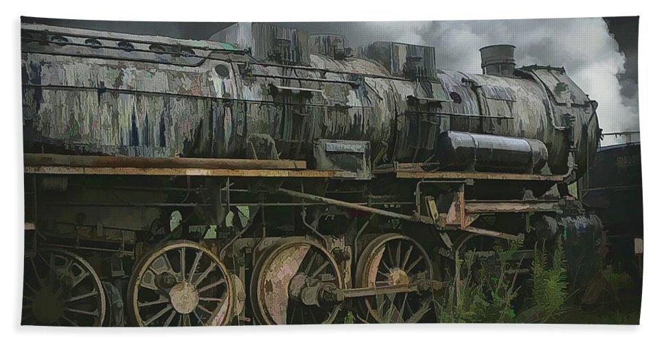 Abstract Beach Towel featuring the photograph Abandoned Steam Locomotive by Robert Kinser