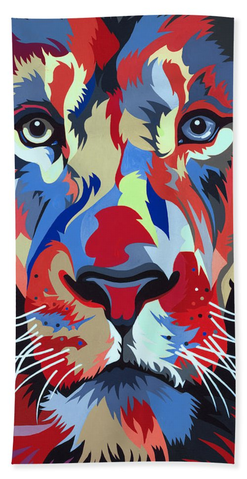 1. Lion Keywords - Lion Beach Towel featuring the painting African Lion by Jethro Longwe