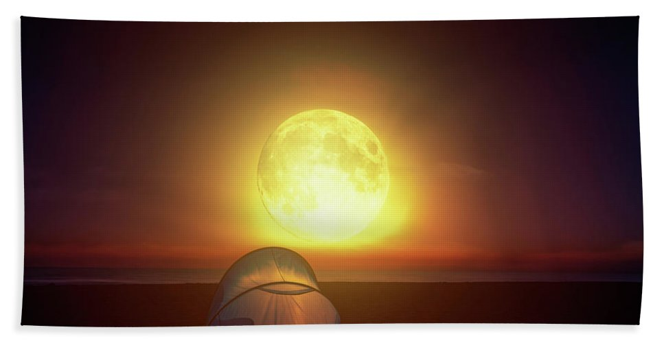 Lighted Beach Towel featuring the photograph Amazing Bright Moon Over The Sea by Lukasz Szczepanski