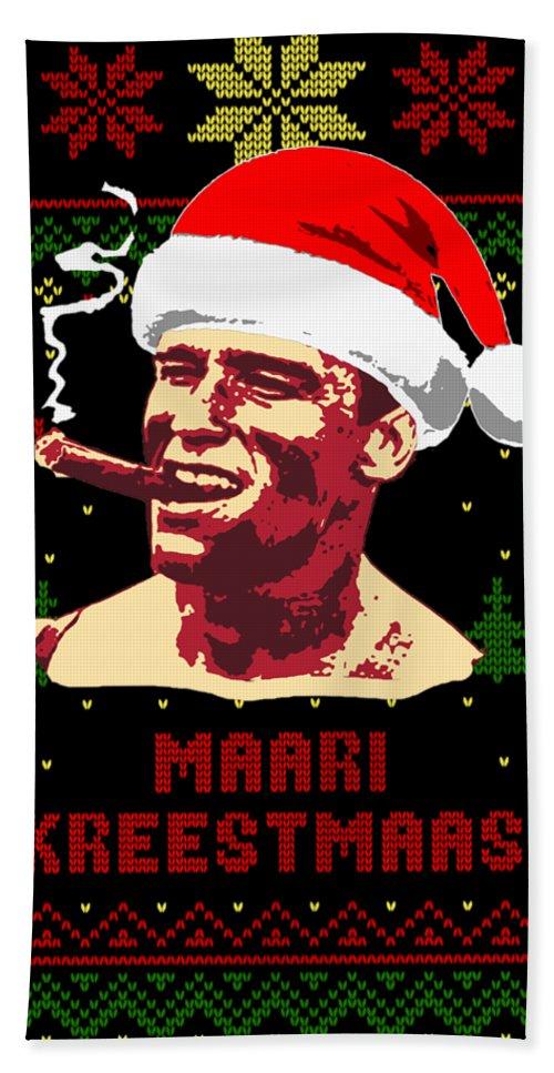 Santa Beach Towel featuring the digital art Arnold Schwarzenegger Merry Christmas by Filip Hellman