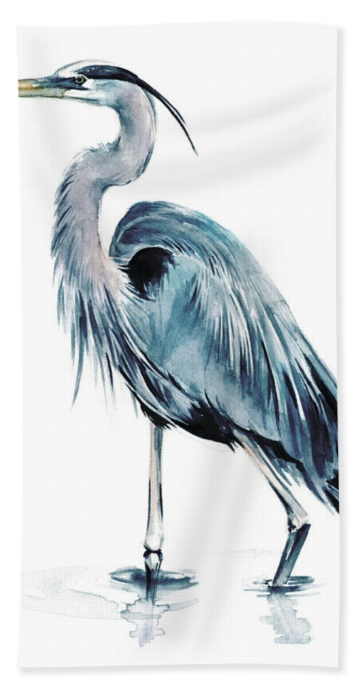 Coastal Beach Towel featuring the painting Blue Blue Heron II by Jennifer Paxton Parker
