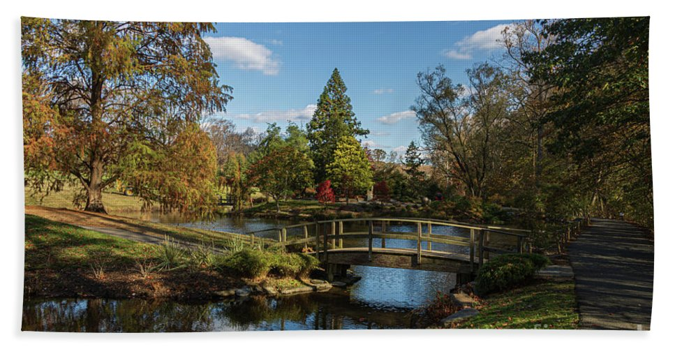 America Beach Towel featuring the photograph Bridge To The Japanese Tea House, Brookside Gardens by Thomas Marchessault
