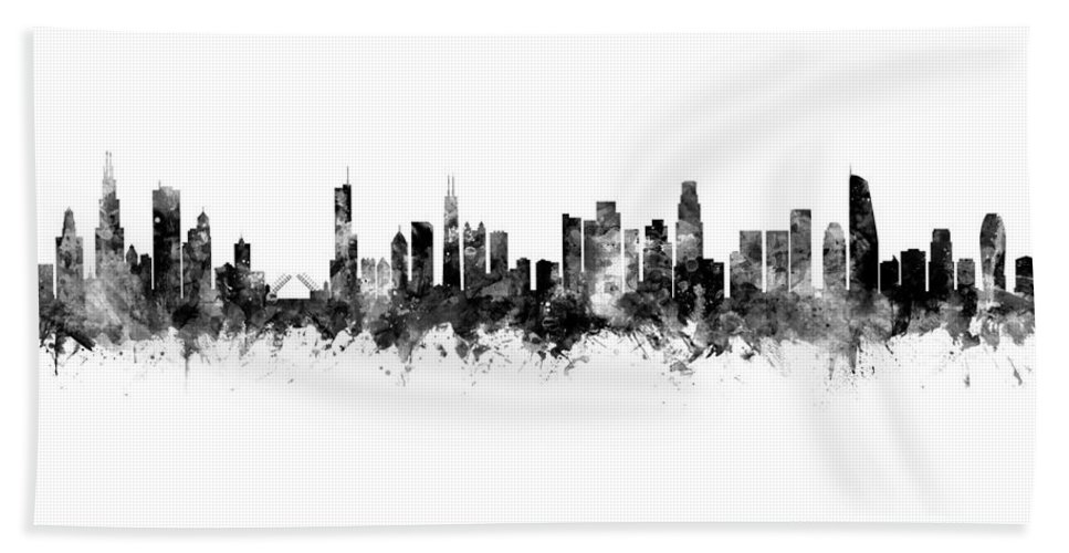 Chicago Beach Towel featuring the digital art Chicago And Los Angeles Skylines Mashup 1 by Michael Tompsett