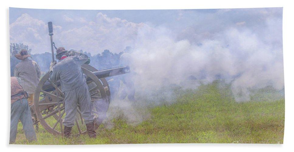 Civil War Cannon Firing Beach Towel featuring the digital art Civil War Cannon Firing by Randy Steele