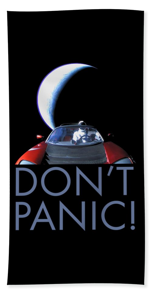 Dont Panic Beach Towel featuring the photograph Don't Panic Starman by Filip Hellman