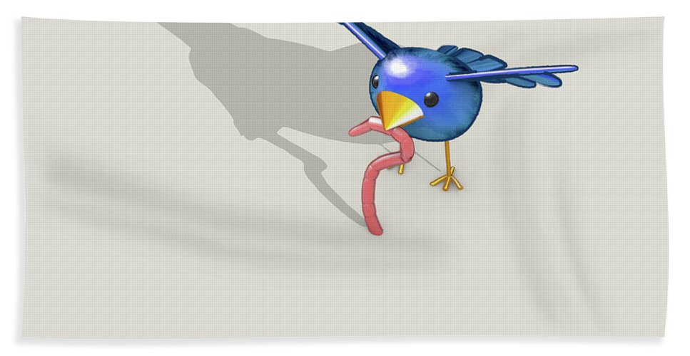 The Early Bird Gets The Worm Beach Towel featuring the digital art Early Bird Catches The Worm 1 by Allan Swart