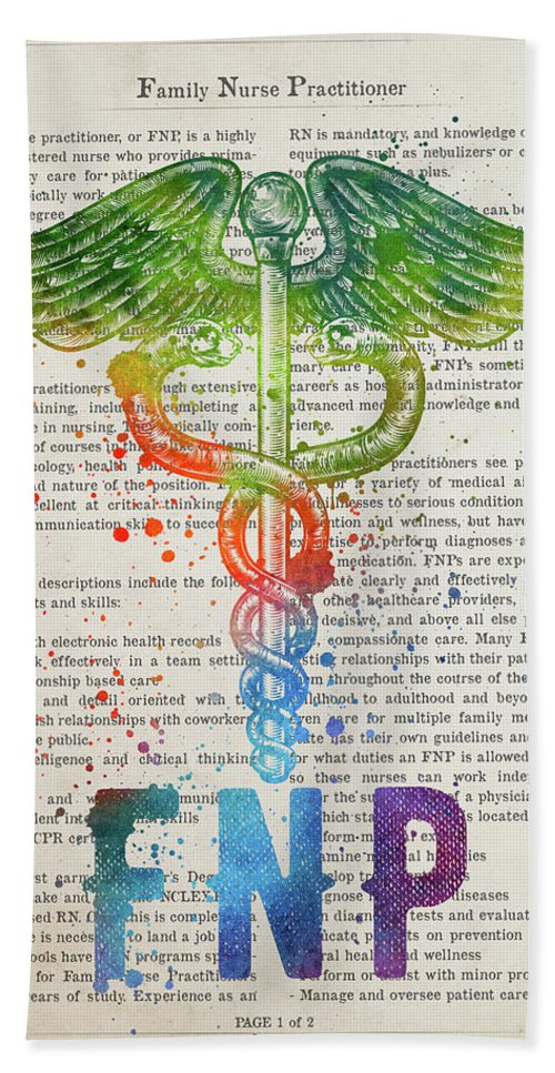 Family Nurse Practitioner Gift Idea With Caduceus Illustration 0 1 Beach Towel
