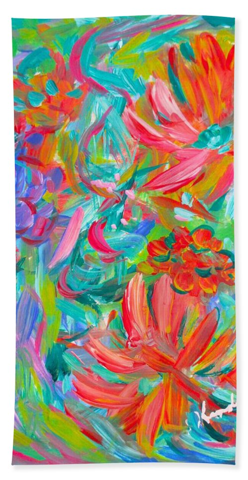 Abstract Beach Towel featuring the painting Flower Twirl by Kendall Kessler