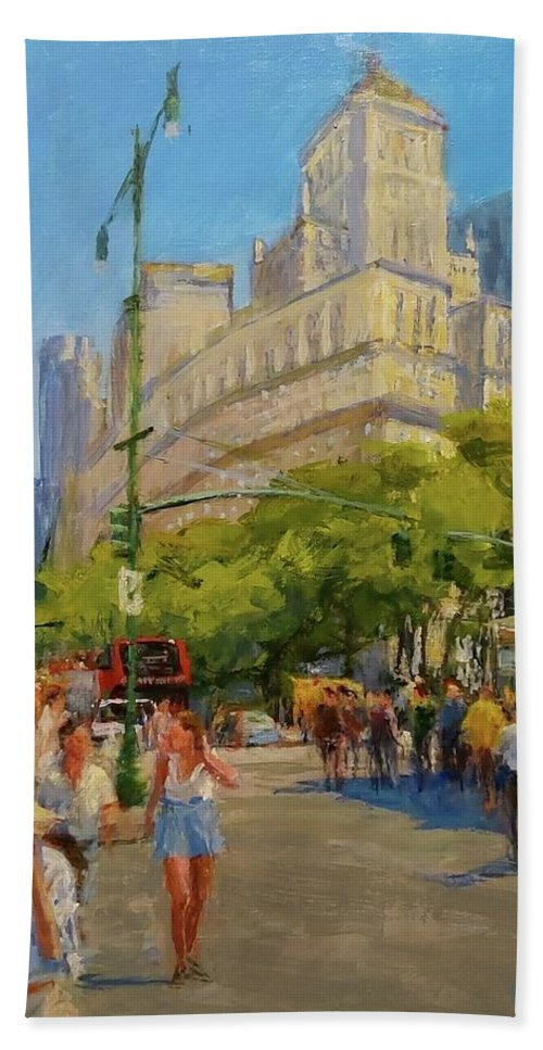 New York Paintings Beach Sheet featuring the painting Foot Traffic, Bowling Green by Peter Salwen