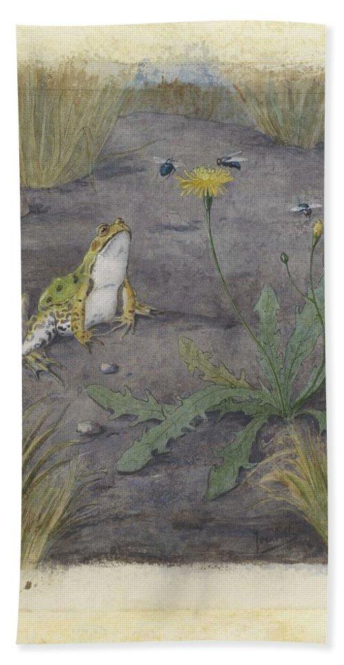 Green Beach Towel featuring the painting Frog By A Dandelion With Flies, Jan Van Oort, C. 1877 - C. 1938 1 by Jan van Oort