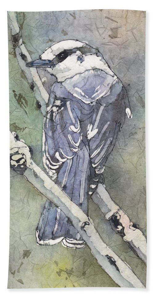 Bird Beach Towel featuring the painting Grey jay by Ruth Kamenev