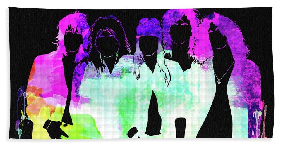 Guns N' Roses Beach Towel featuring the mixed media Guns N' Roses Watercolor by Naxart Studio