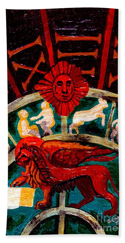 Lion Beach Towel featuring the painting Lion Of St. Mark by Genevieve Esson
