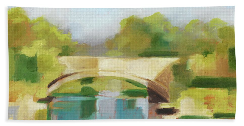 Landscapes Beach Towel featuring the painting Park Bridge I by Ethan Harper