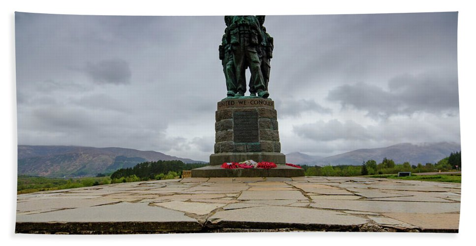 Commando Memorial Beach Towel featuring the mixed media Scottish Commando Memorial 1 by Smart Aviation