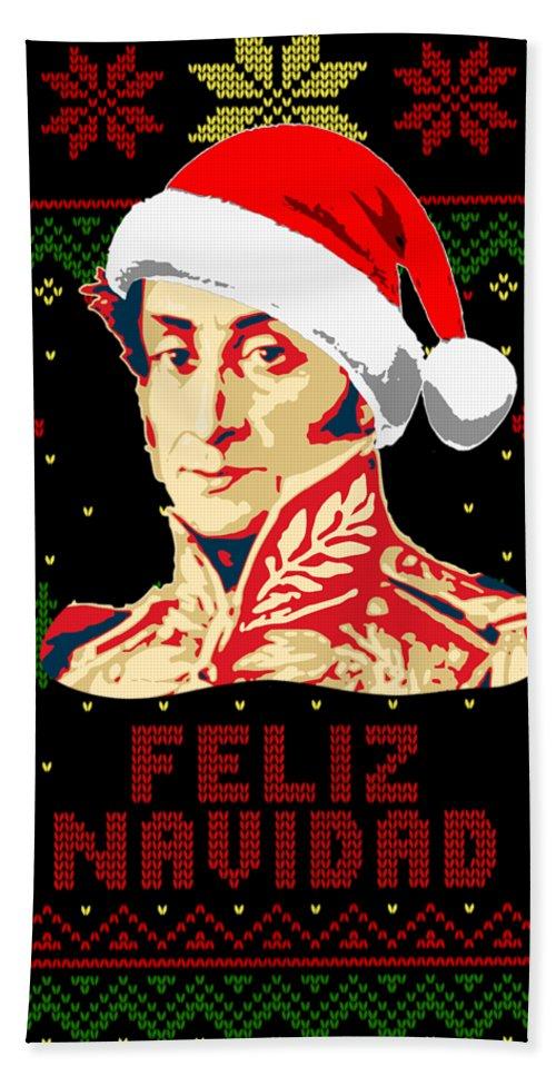 Santa Beach Towel featuring the digital art Simon Bolivar Feliz Navidad by Filip Hellman