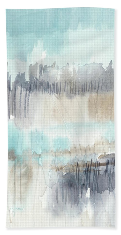 Landscapes & Seascapes+coastal & Seascapes Beach Towel featuring the painting Sky Marsh I by Jennifer Goldberger