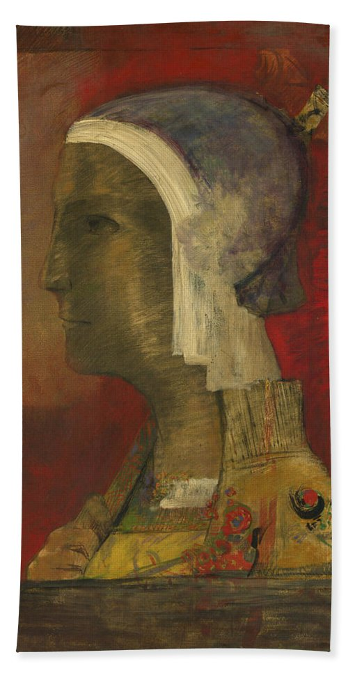 Odilon Redon Beach Towel featuring the painting Symbolic Head, 1890 by Odilon Redon
