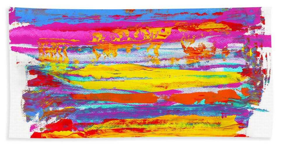 Sunrise Beach Towel featuring the painting Tequila Sunrise by Bjorn Sjogren
