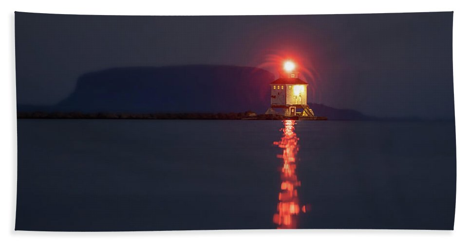 Abstract Beach Towel featuring the photograph Thunder Bay Harbour Lighthouse by Jakub Sisak