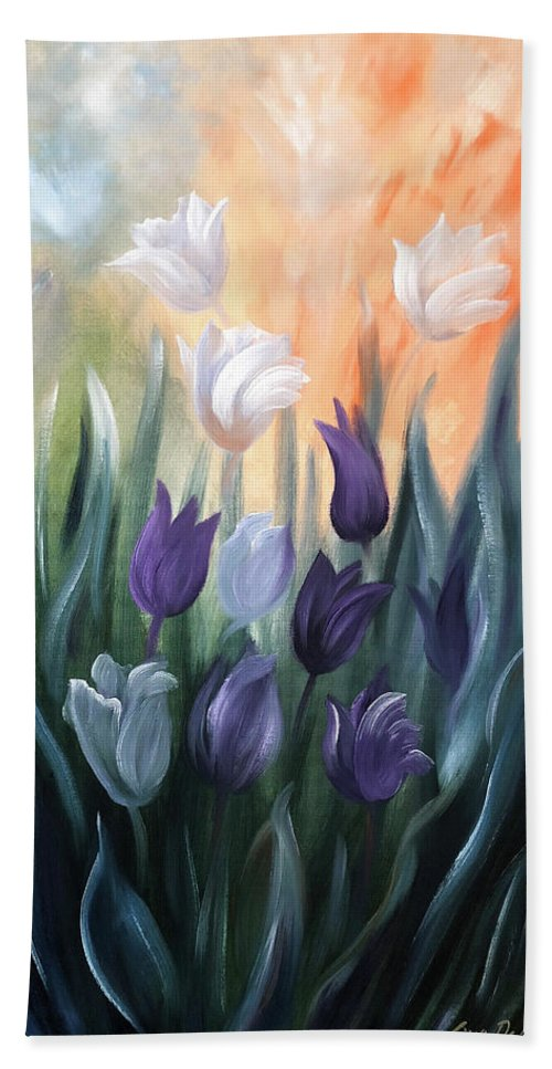 Tulip Beach Towel featuring the painting Tulips by Gina De Gorna