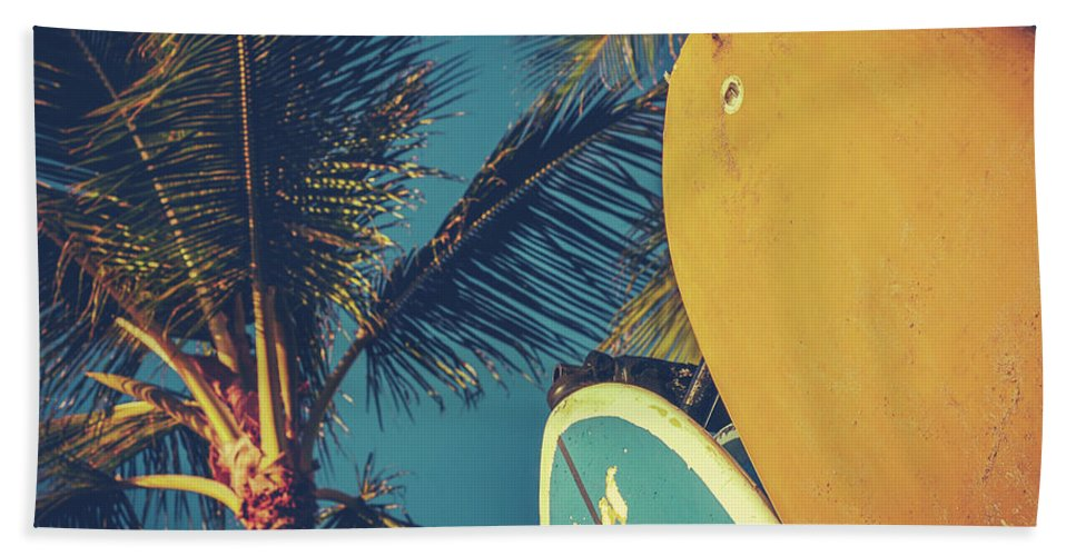 70s Beach Towel featuring the photograph Vintage Surfboards And Palms by Mr Doomits