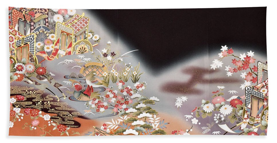 Beach Towel featuring the digital art Spirit of Japan T78 by Miho Kanamori