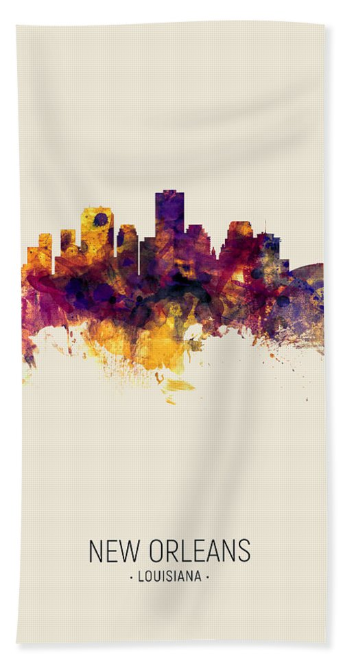 New Orleans Beach Towel featuring the digital art New Orleans Louisiana Skyline by Michael Tompsett