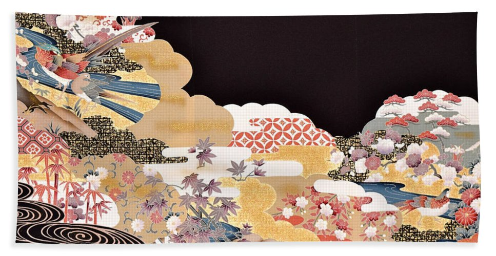 Beach Towel featuring the digital art Spirit of Japan T65 by Miho Kanamori
