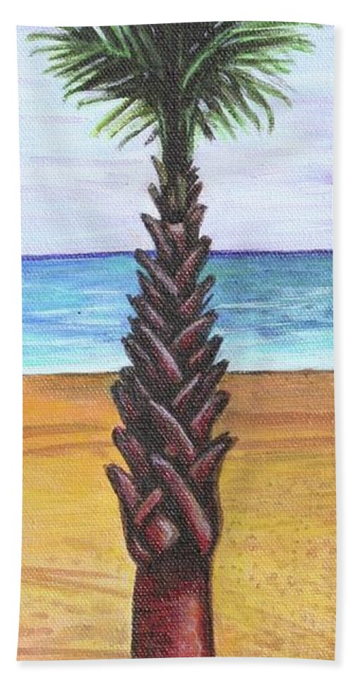 Palm Tree Beach Towel featuring the painting 1st Street Palm by Kate Fortin