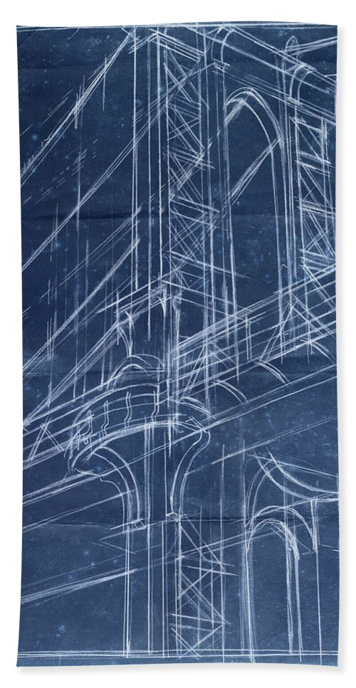 Architecture Beach Towel featuring the painting Bridge Blueprint I by Ethan Harper
