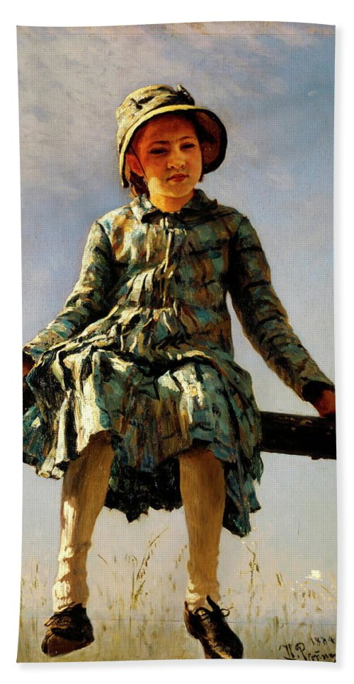 Dragonfly Beach Towel featuring the painting Dragonfly, Painter's Daughter Portrait by Ilya Repin