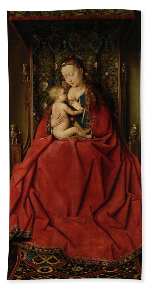 Jan Van Eyck Beach Towel featuring the painting Lucca Madonna by Jan van Eyck