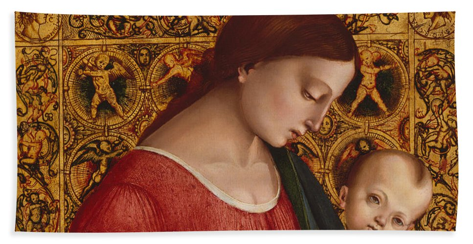 16th Century Art Beach Sheet featuring the painting Madonna And Child by Luca Signorelli