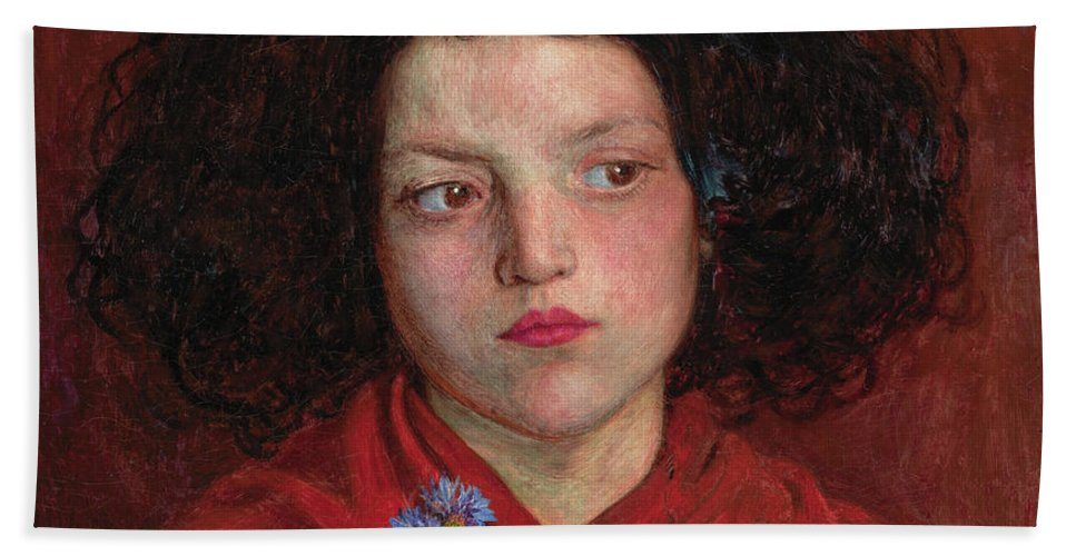 British Beach Towel featuring the painting The Irish Girl by Ford Madox Brown