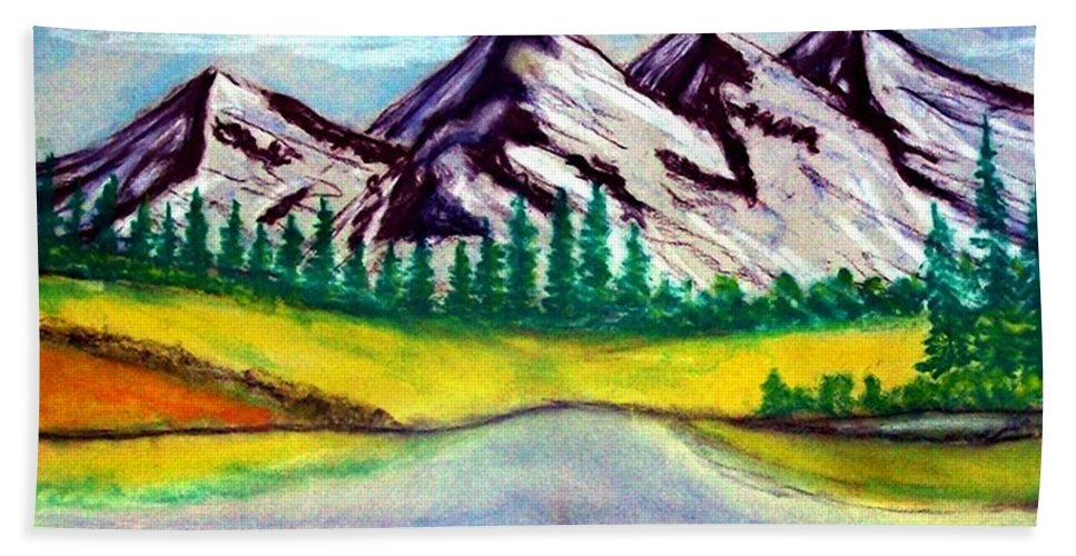Pastel Painting Beach Sheet featuring the painting 2019#01_mountain Lake by Armin Behnert