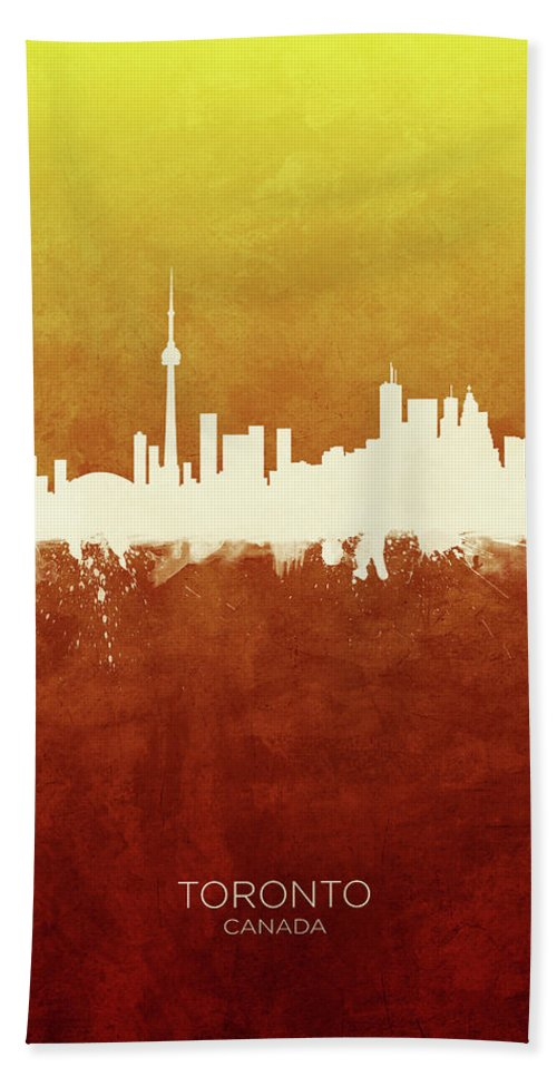 Toronto Beach Towel featuring the digital art Toronto Canada Skyline by Michael Tompsett
