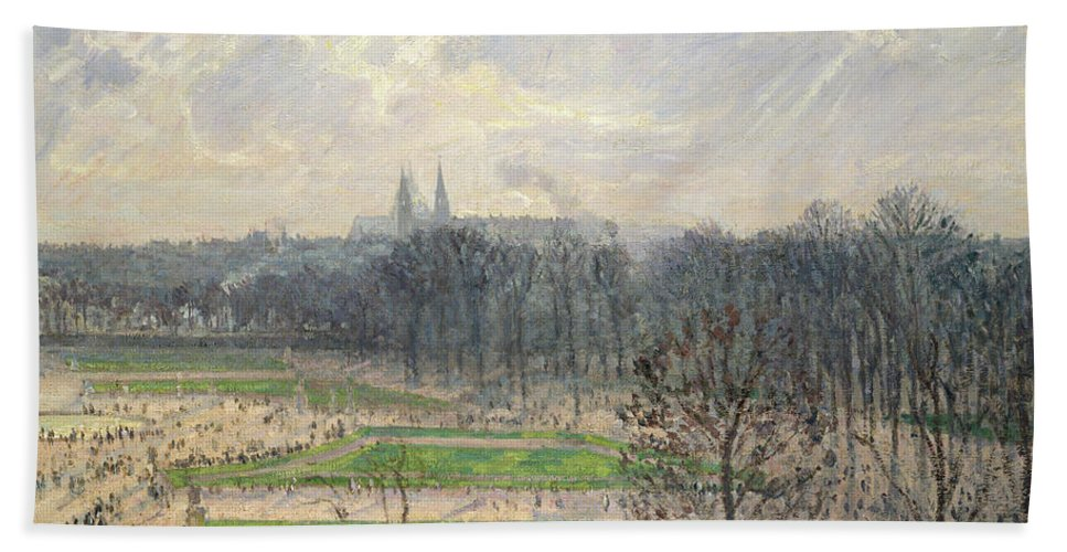 Camille Pissarro Beach Towel featuring the painting The Garden Of The Tuileries On A Winter Afternoon by Camille Pissarro